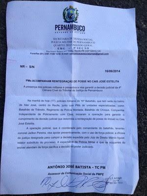 Nota da Secretaria de Defesa Social sobre a reintegração de posse no Cais José Estelita (Foto: Kety Marinho/TV Globo)