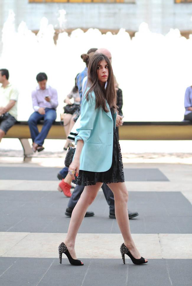 New York Fashion Week, Black Lace dress, Chanel, Elie Tahari, True Blood Janina Gavankar, Blue Blazer, Fashion outfit