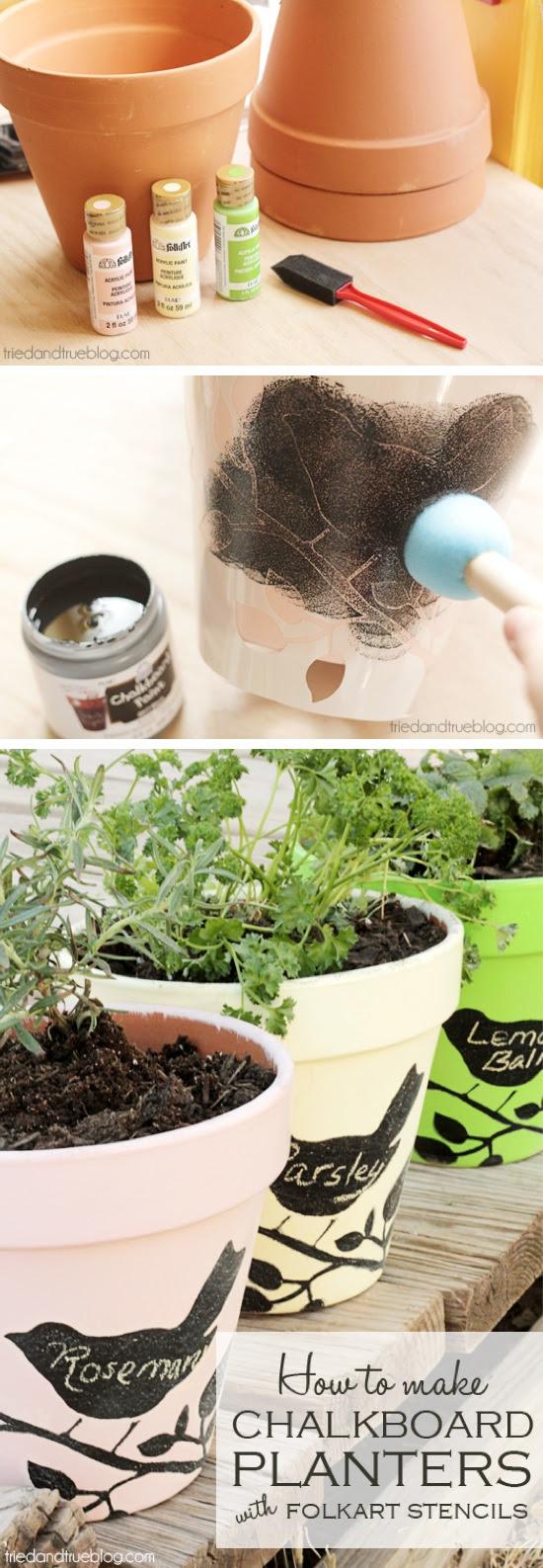 DIY Chalkboard Stencil Planters - Craft By Photo