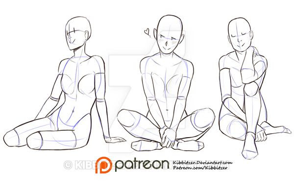 Girl Sitting Pose Drawing Reference