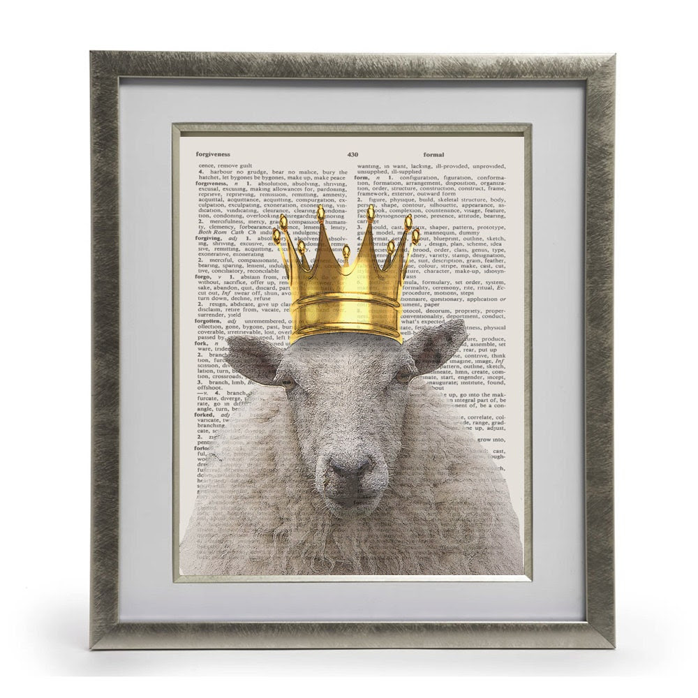 King Sheep Dictionary Art Print, Home Decor, Wall Decor, Dictionary Page Art, Mixed Media Art - londonspearlyqueens