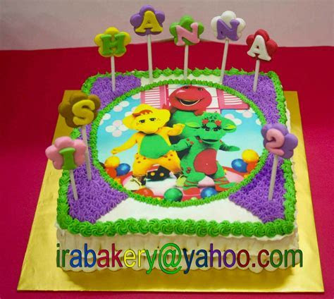 Barney cake with edible image   barney party   Pinterest