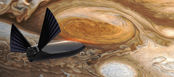 A SpaceX Interplanetary Transport System spaceship sails near Jupiter in this artist's concept of the deep-space crewed spacecraft.