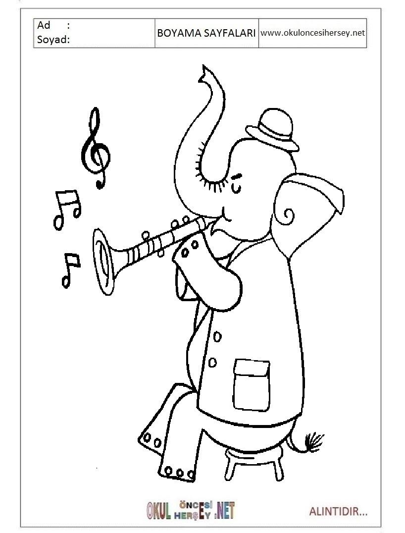 Saksofon Boyama Sayfaları