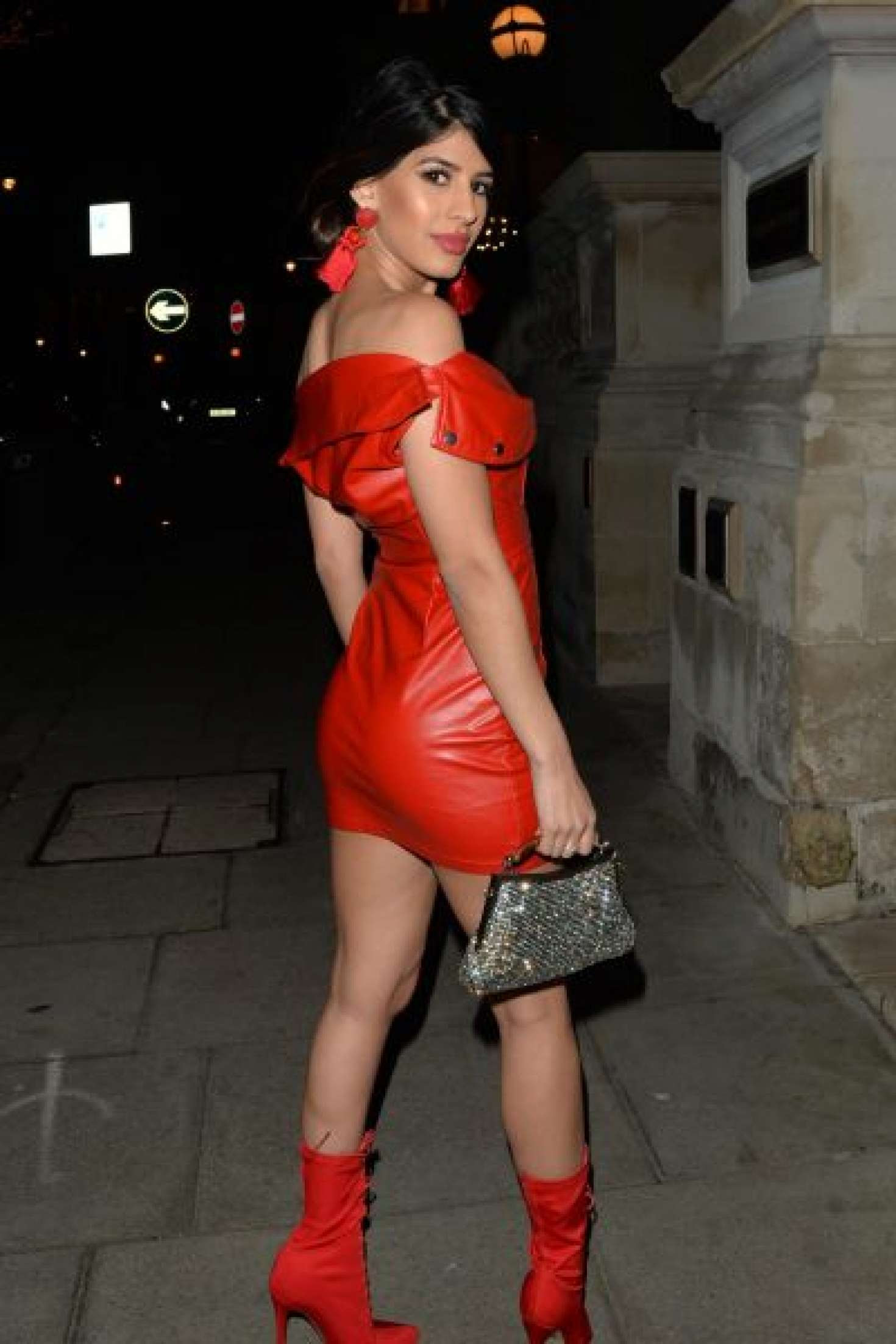 Jasmin Walia in Red Mini Dress – Leaves the Langham Hotel in London