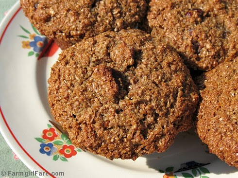 100% whole grain cranberry orange bran muffins made without processed sugar and bran cereal - FarmgirlFare.com