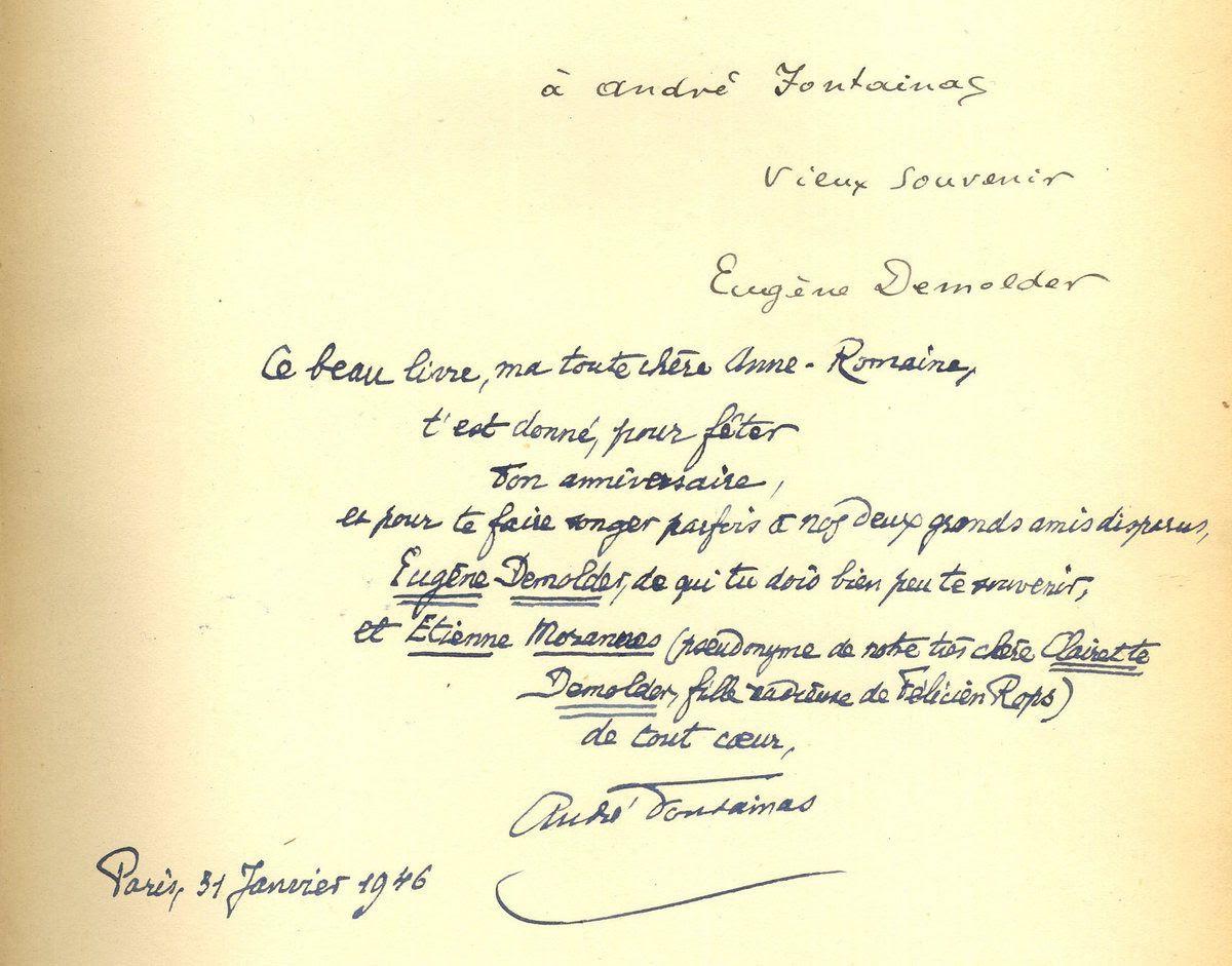 Envois manuscrits d'Eugène Demolder à André Fontainas et d'André Fontainas à Anne-Romaine Fontainas