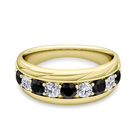 black  white diamond mens wedding band ring   gold