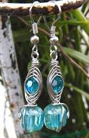 herringbone weave dangle earrings with fire polished crystals