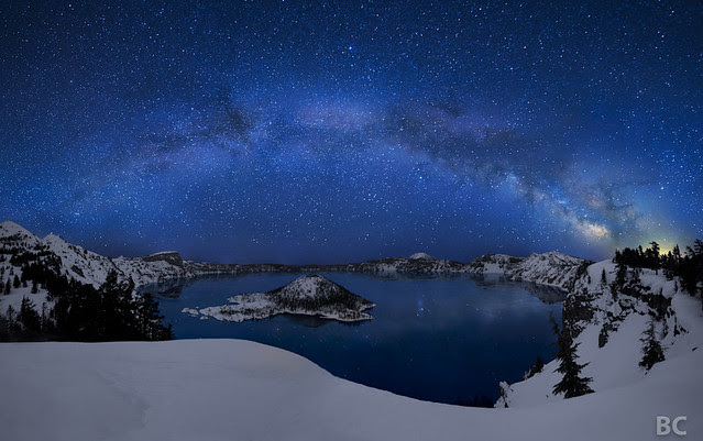 Crater Lake under the Stars