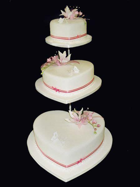 Butterflies & Petals Simple 3 Tier Heart Cake   All Heart
