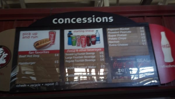 Concession prices. At the Kayem hot dog cart they have ...