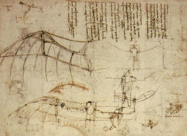 File:Leonardo Design for a Flying Machine, c. 1488.jpg