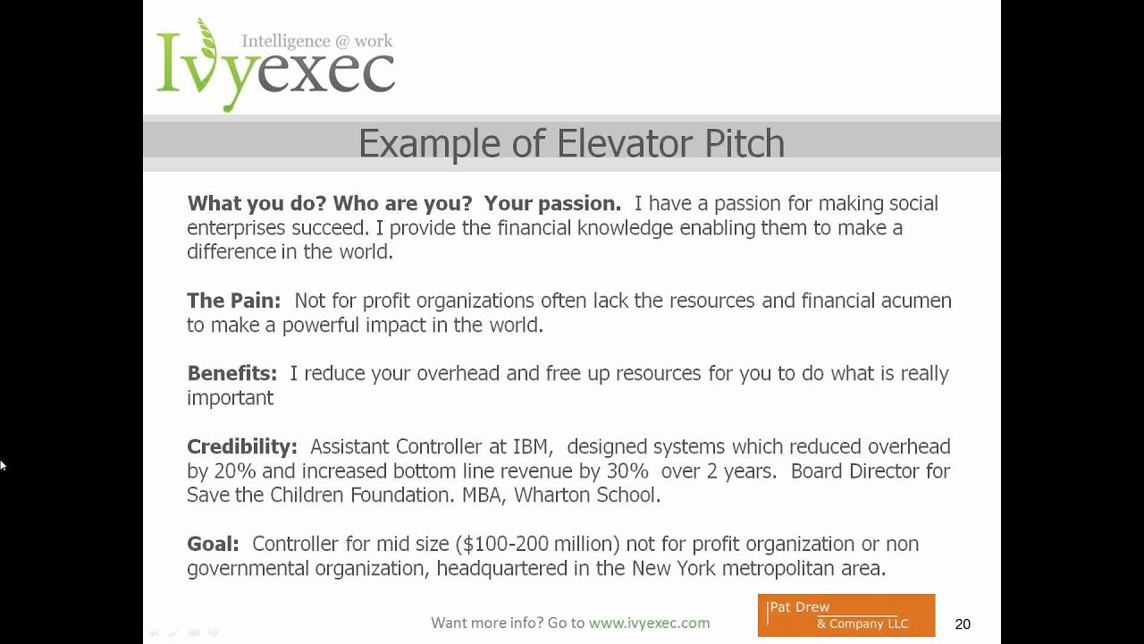 elevator pitch examples for medical assistant