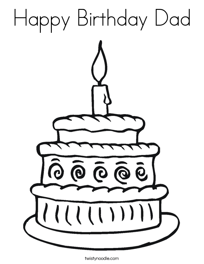 Happy Birthday Dad Coloring Page - Twisty Noodle