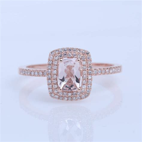 4x6MM CUSHION CUT MORGANITE SOLID 10K ROSE GOLD REAL