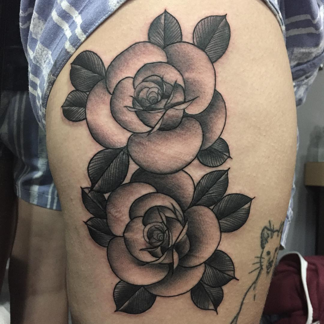 Black And Grey Roses Tattoo Modern Body Art