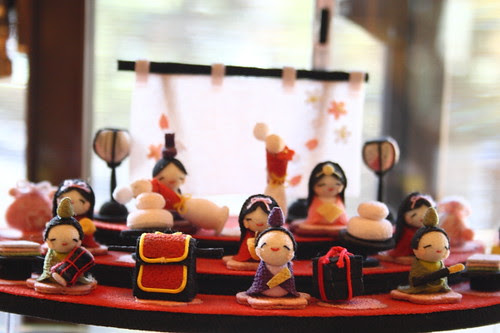 Little dolls in the famous cotton craft shop in Arashiyama