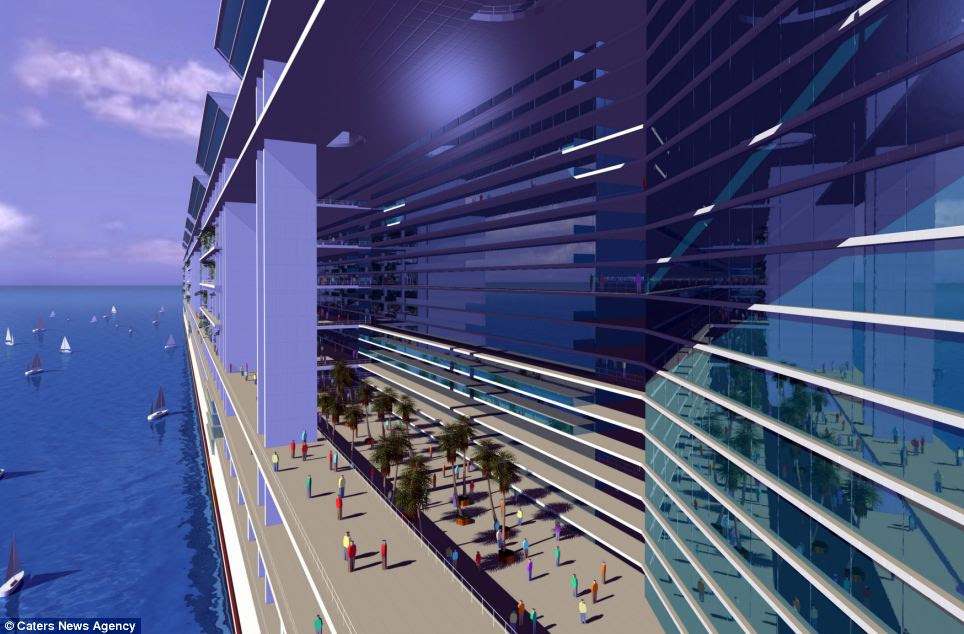 自由船, concept pictured, is a mile long, 25 storeys high