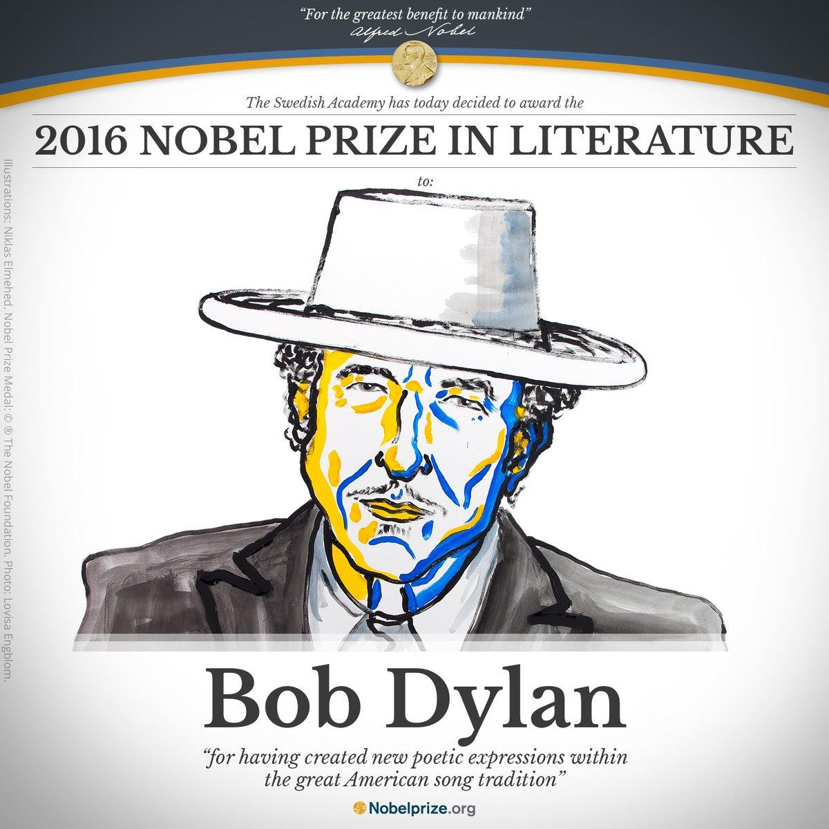 Image result for bob dylan nobel prize