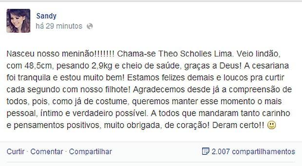 A cantora falou sobre o nascimento em seu perfil no Facebook (Foto: Reprodução)