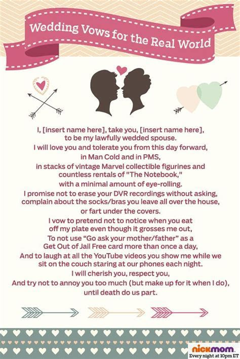 Wedding vows for the real world.   motherhood   Funny