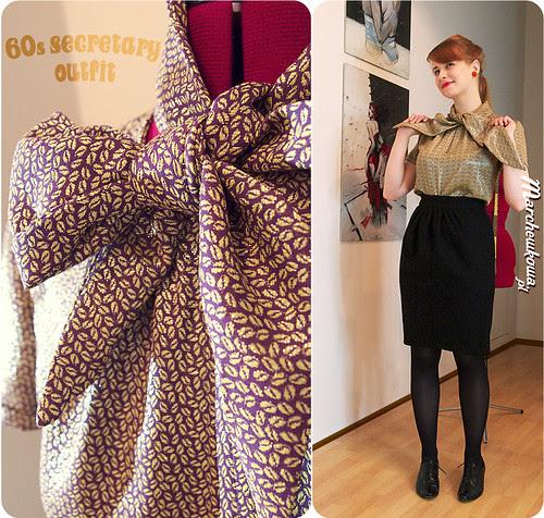 60s secretary outfit, lata sześćdziesiąte, szycie, krawiectwo, Burda, kokarda
