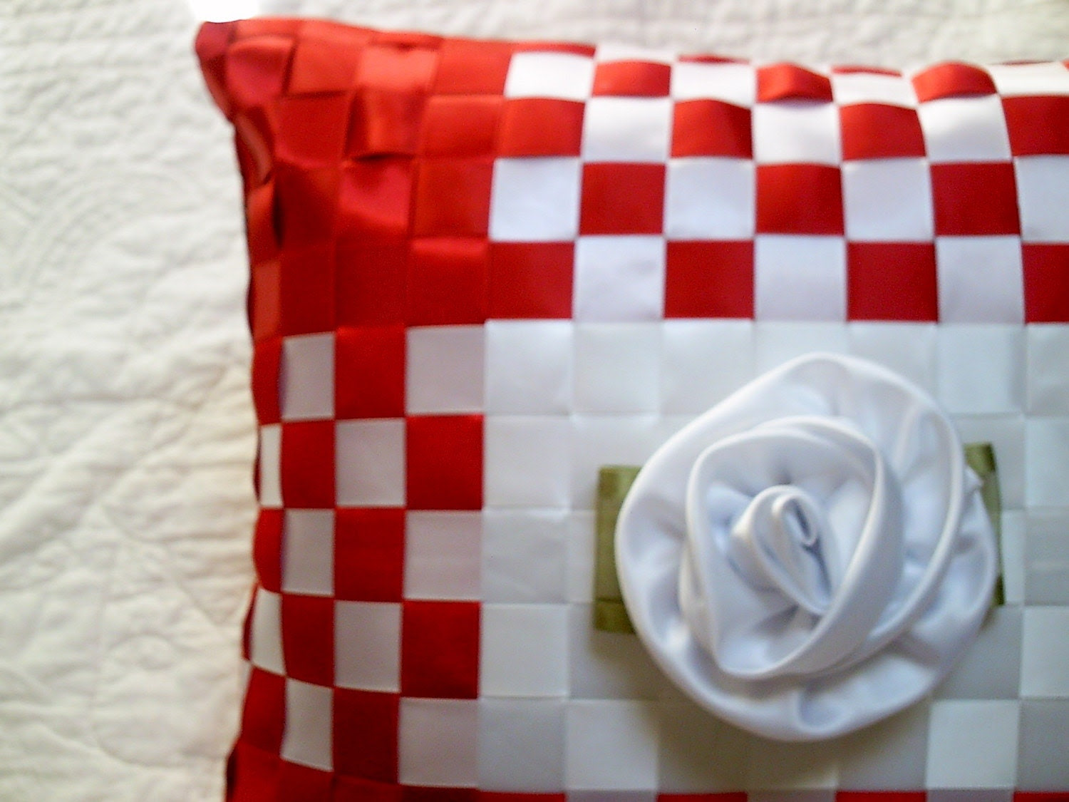 Woven Ribbon Pillow with Removable Rose Pin Brooch - Red White - Made to Order - Ribbon Weave