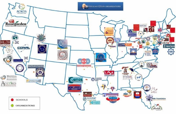 Map of Gulen schools and cultural institutions in the United States.