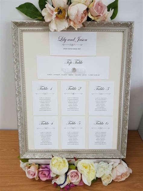 Wedding Table Seating Plan Name Place Cards Table Numbers
