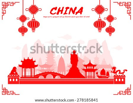 stock vector beautiful china travel landmarks vector and illustration 278185841