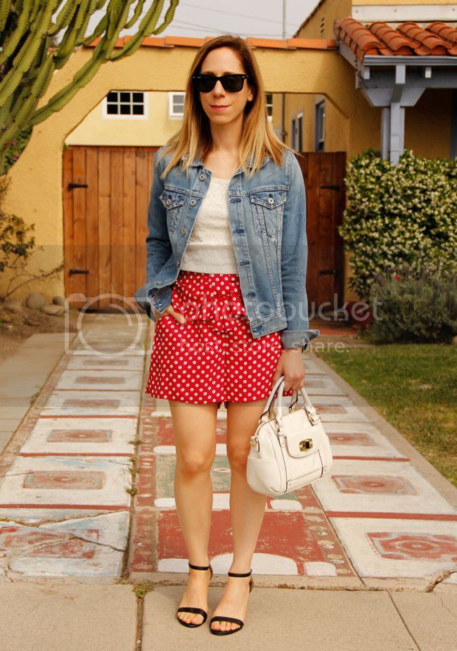 LC Lauren Conrad Minnie Mouse red polka dot soft shorts with an AG Jeans denim jacket, Merona turnlock mini satchel, and ankle strap heels
