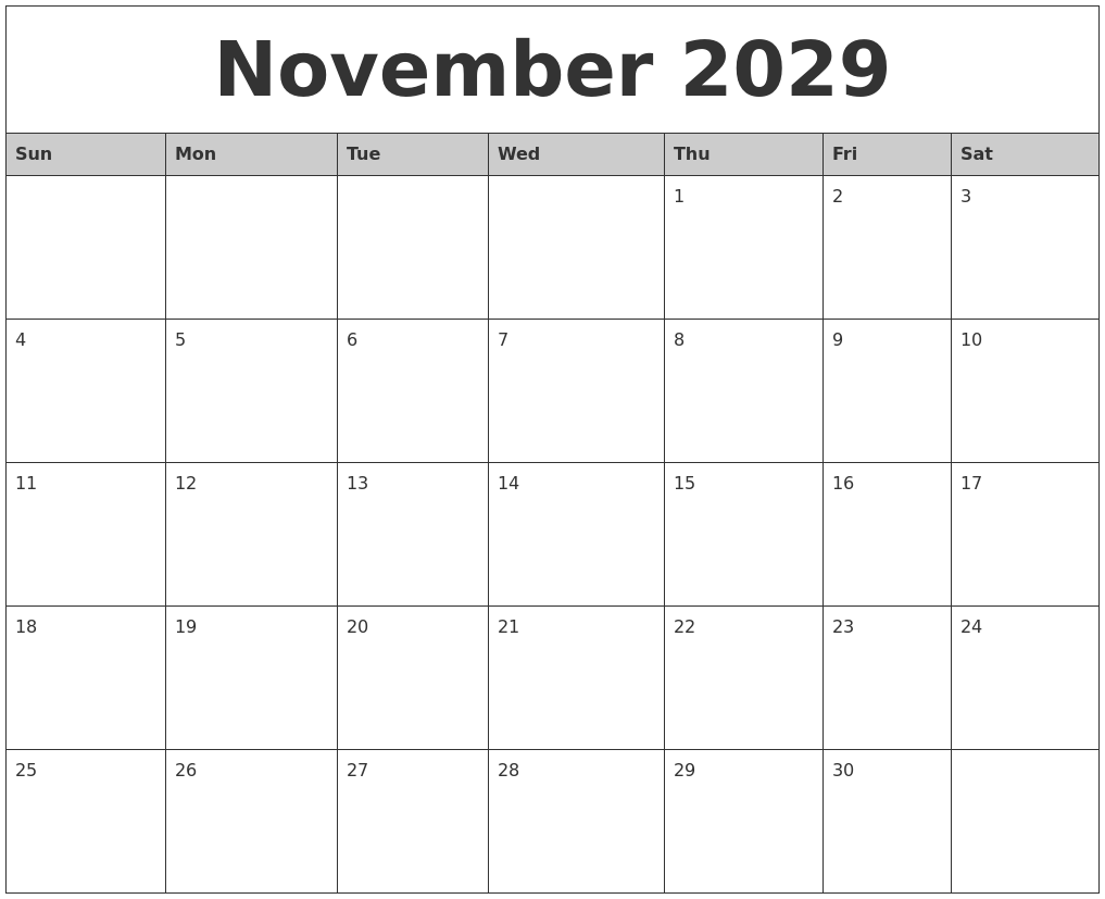 november 2029 monthly calendar printable