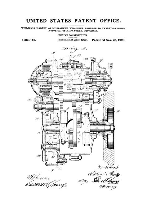 Harley Engine Patent – Patent Print, Wall Decor