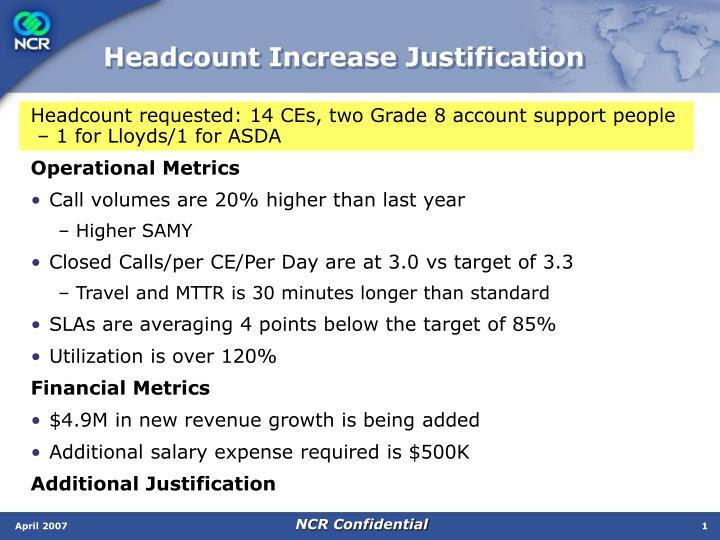 headcount increase justification n