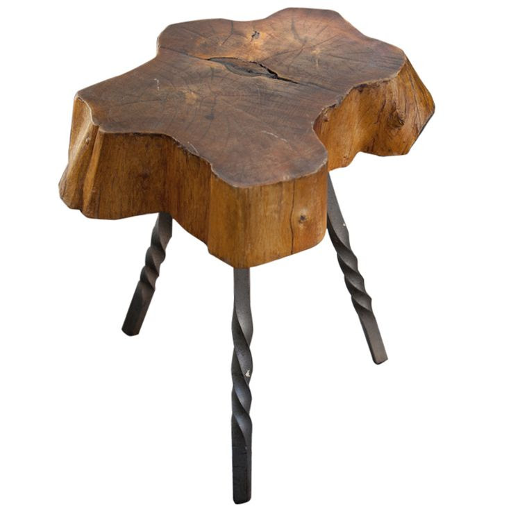 $350 Wood Trunk Stool with Iron Legs