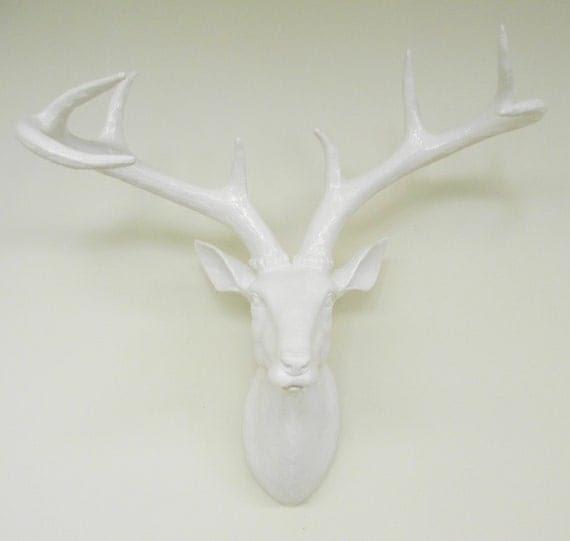 White, Wedding, Deer Head, Faux Taxidermy, Stag, Faux Deer Head, Deer, Home Decor