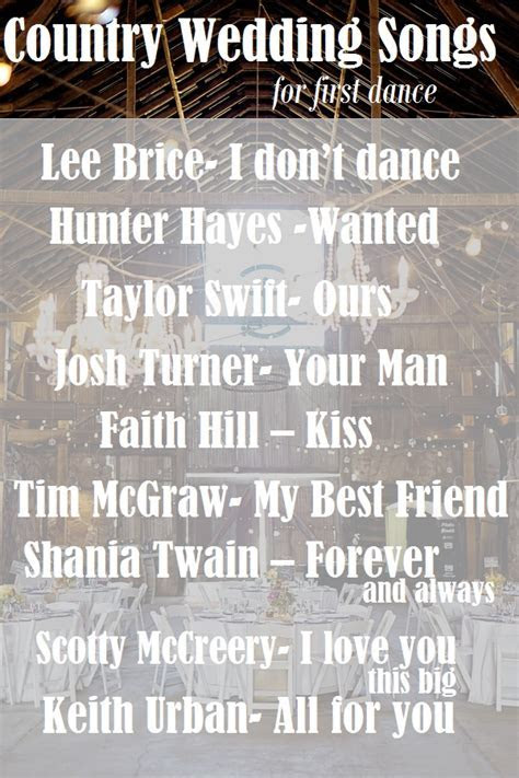 Top Country Wedding Songs for First Dance   Rustic Folk