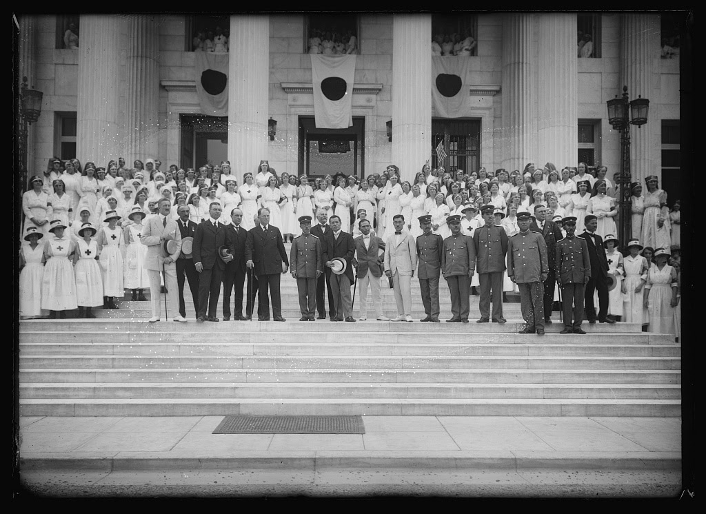 The Japanese RC Comm. headed by Prince Tokagawa [i.e. Tokugawa], being received at ARC National Headquarters by Chairman Danison and members of the War Council. Photo from American National Red Cross Collection, July 1918. //hdl.loc.gov/loc.pnp/anrc.02158
