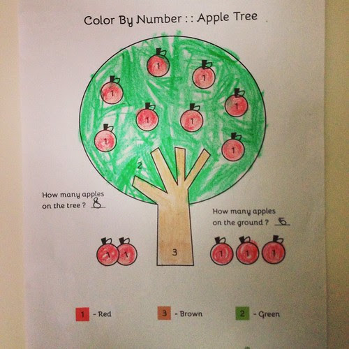 Color By Number- Apple Tree Free Printable | Free ...