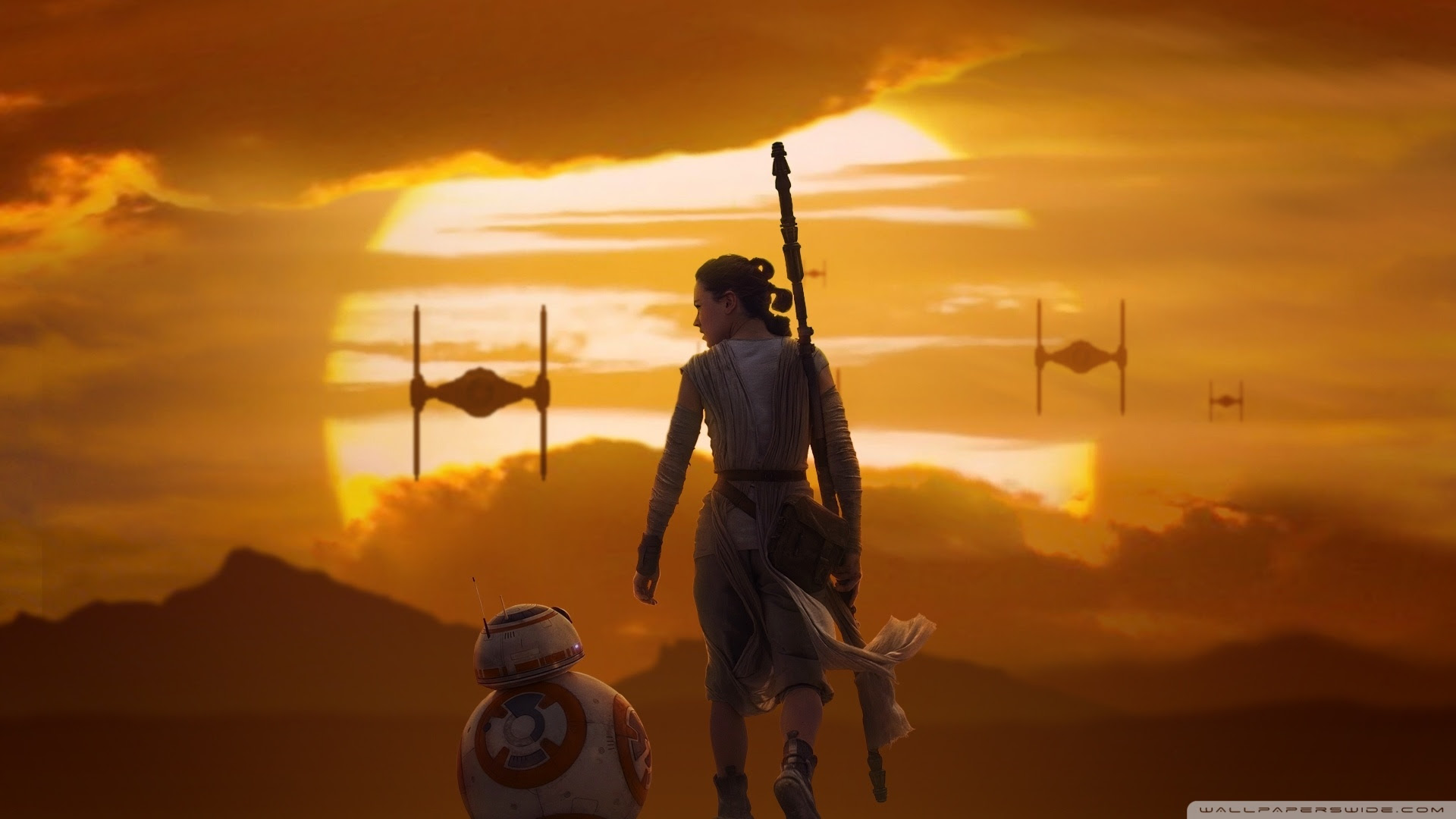 Rey Bb 8 Star Wars The Force Awakens Ultra Hd Desktop Background