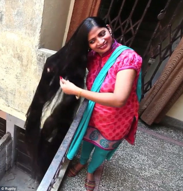 Indian woman with seven-foot-long hair pes to becoming Guinness ...