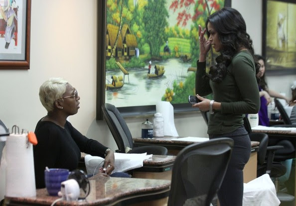 """""""The Real Housewives of Atlanta"""" star Nene Leakes visits a nail salon on February 27, 2013 in Beverly Hills, California."""