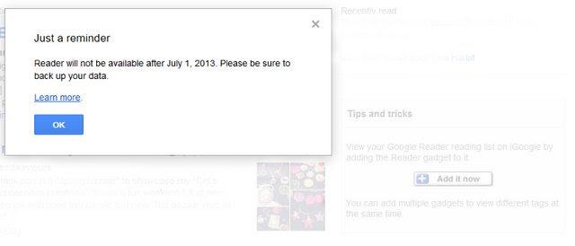 Google Reader discontinued error message