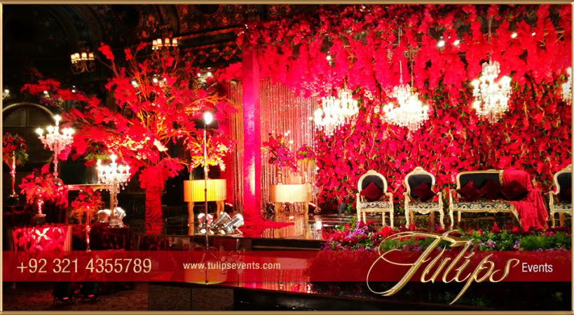 Red Gold Wedding Reception Tulips Event Management