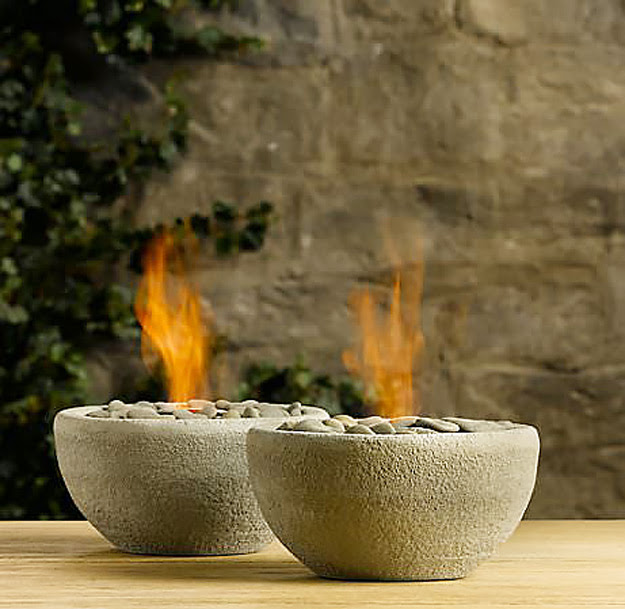 DIY Furniture Store KnockOffs - Do It Yourself Furniture Projects Inspired by Pottery Barn, Restoration Hardware, West Elm. Tutorials and Step by Step Instructions  |   Restoration Hardware DIY table top river rock fire bowls   |   http://diyjoy.com/diy-furniture-store-knockoffs