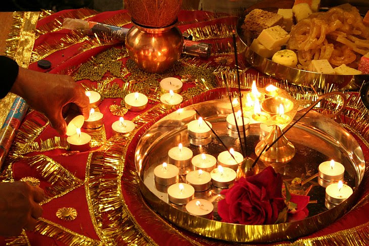 Lit Deepavali Candles