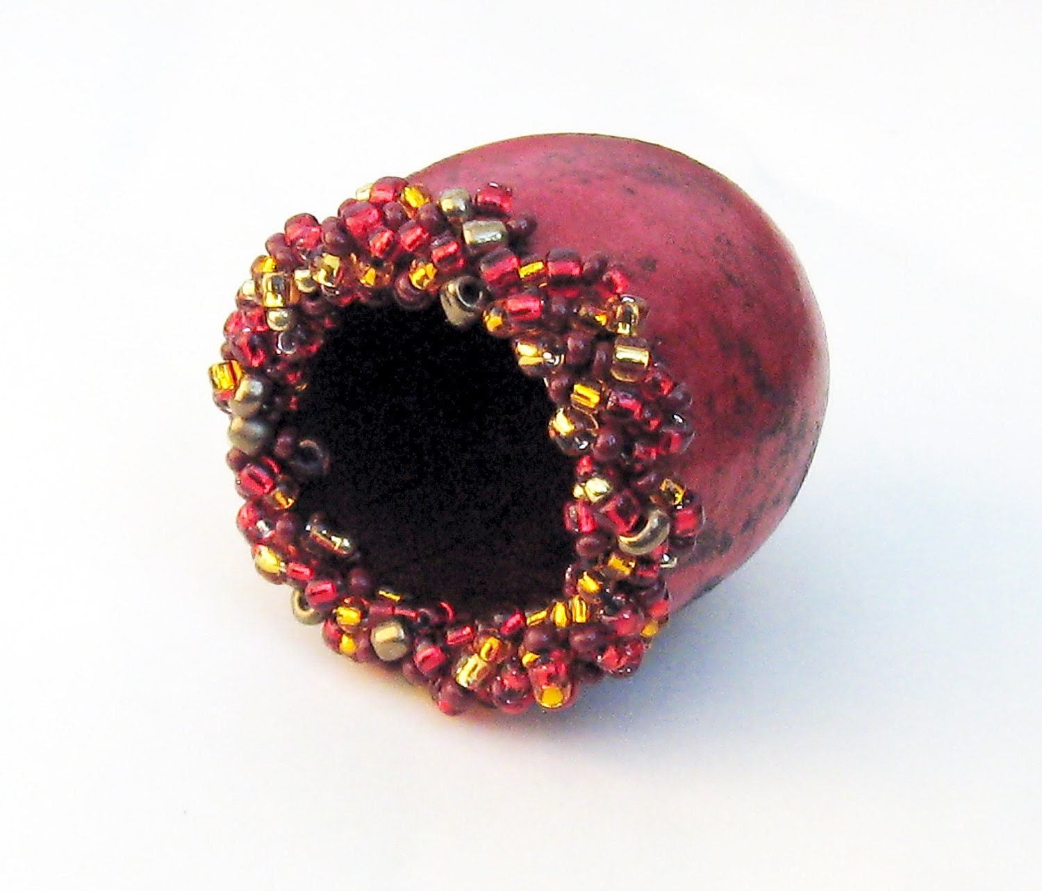 Gourd Beaded Mini Bowl Ruby Red with Red and Gold  Beads - midnightcoiler