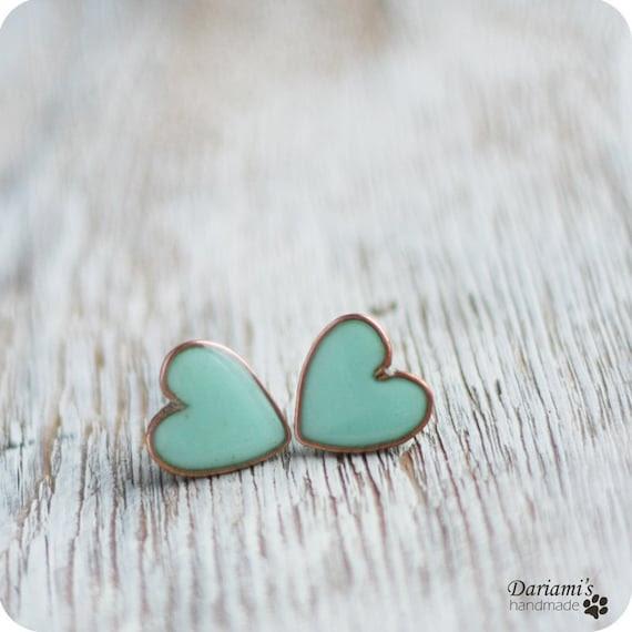 Post earrings - Mint green Hearts