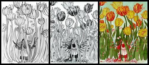 Tulips (two drawings and final) - Yuko Shimizu